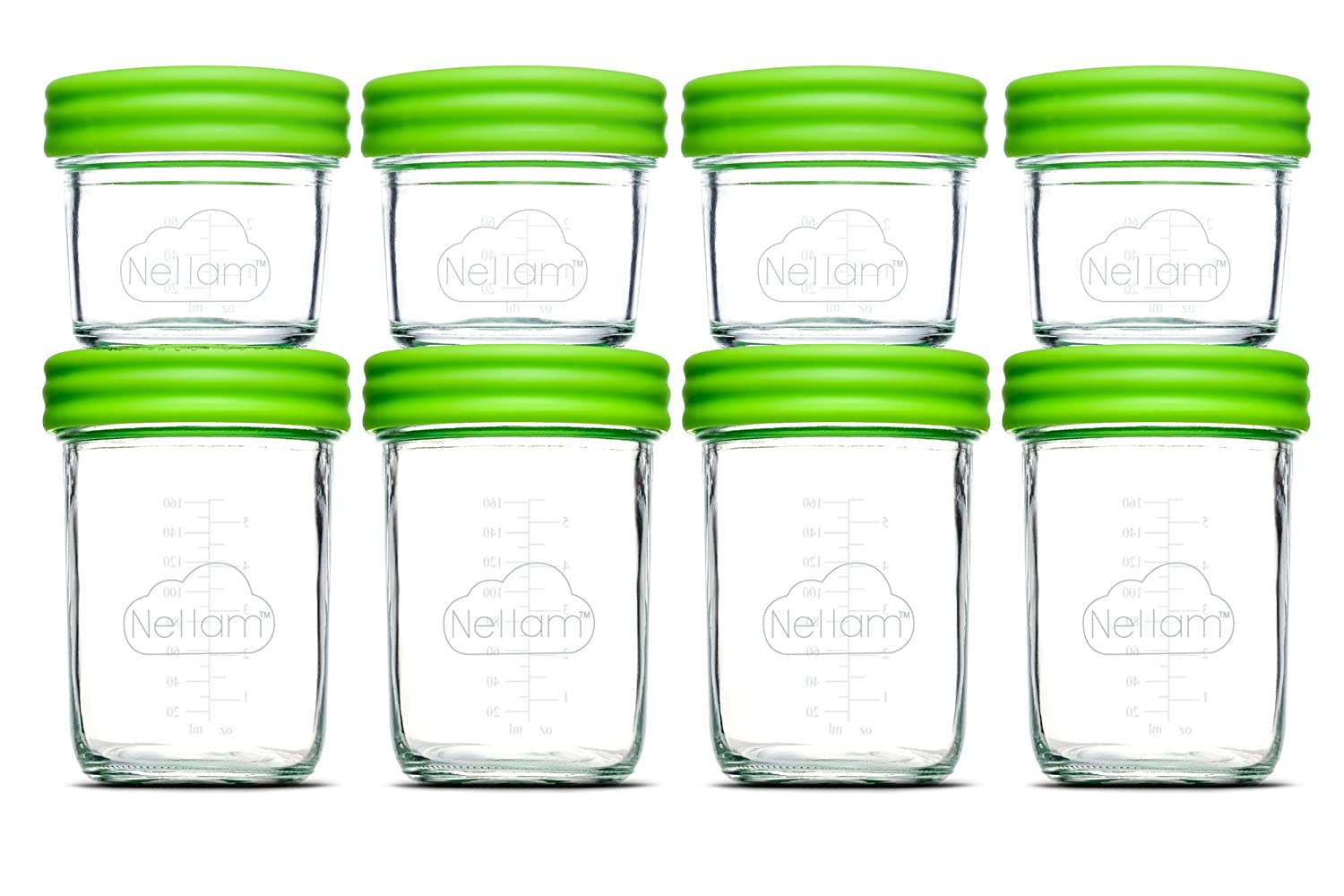 Nellam Baby Food Storage Containers - Leakproof, Airtight, Glass Jars for Freezing & Homemade Babyfood Prep