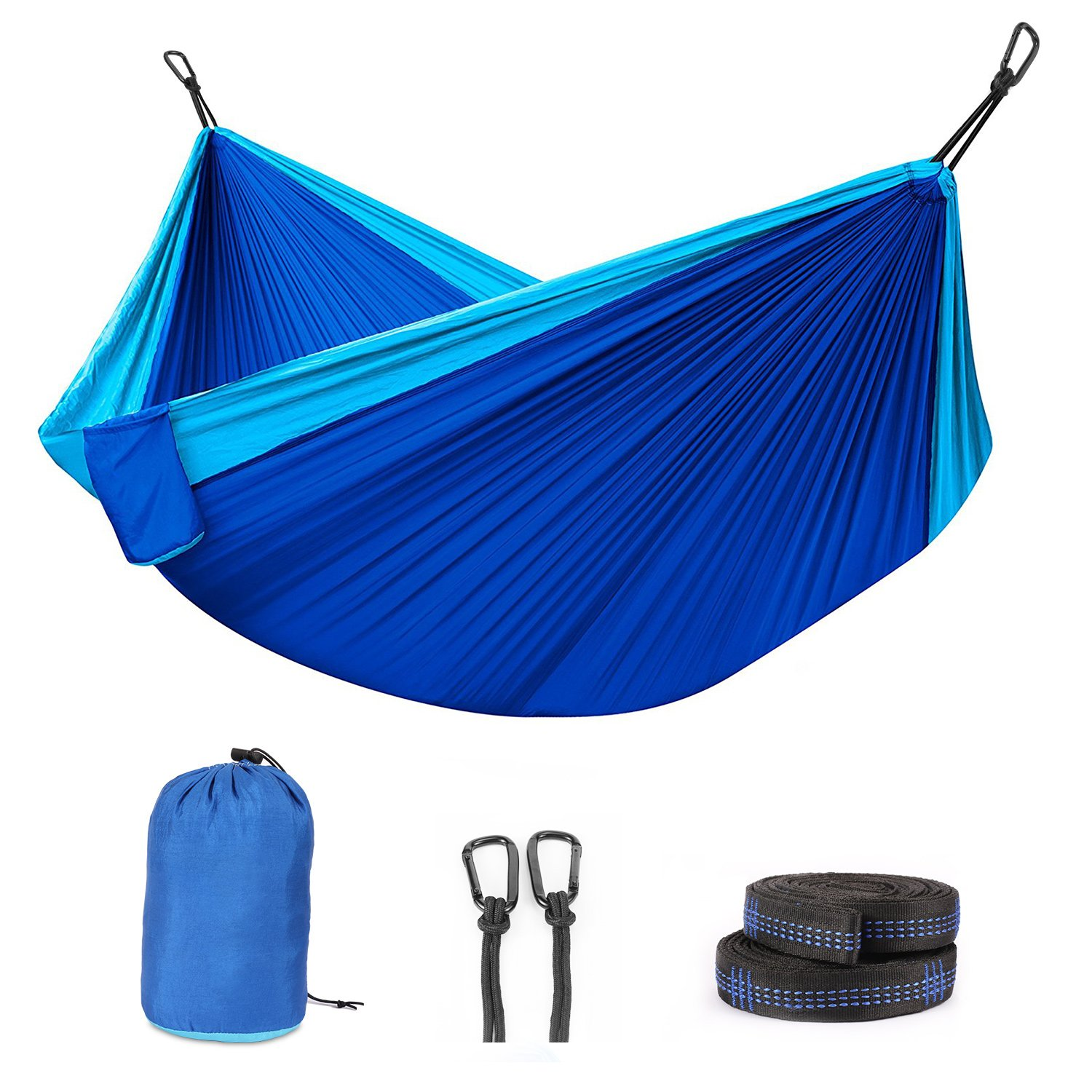 FYLINA Double Camping Hammock with 2 Tree Straps, Carabiner, Portable Lightweight Parachute Nylon Outdoor Hammock for Backpacking, Travelling, Survival, Beach Yard Garden Relaxing(Hammock)