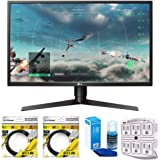 """LG 27"""" Class Full HD Gaming Monitor with FreeSync 2018 Model (27GK750F-B) with 2x 6ft High Speed HDMI Cable, Universal Screen Cleaner for LED TVs & SurgePro 750 Joule 6-Outlet Surge Adapter"""