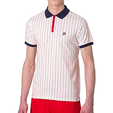 FILA Men's BB1 Polo Shirt White/Navy/Chinese Red XX-Large ...