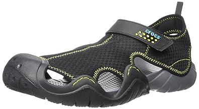 crocs Men's Swiftwater Sandal,Black/Charcoal,10 M US