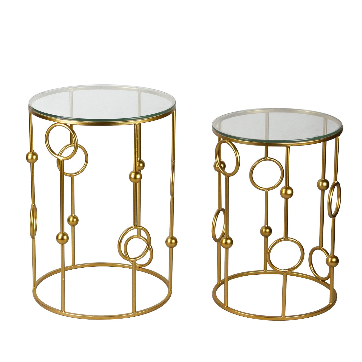 ELEGAN Accent Golden Cylindrical Metal Coffee Table (Set of 2) by Edeco
