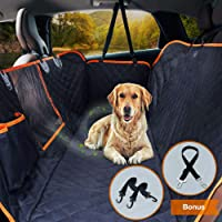 "Dog Car Seat Cover Waterproof Pet Seat Cover for Cars Trucks SUVs Dog Travel Back Seat Hammock Bench Protector with Mesh Window/Seat Belt Opening/Storage Pocket, 54"" W x 58"" L, Black/Orange"