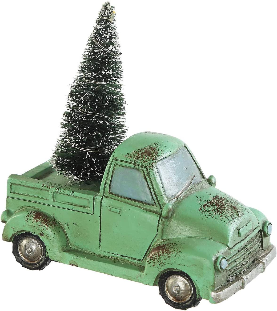 "Holiday Truck with LED Light Up Tree Table Decor Miniature Home Ornaments Figurine, Green, 4.25"" W x 2.25"" D x 4"" H"