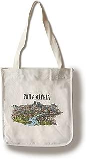 product image for Philadelphia, Pennsylvania - Line Drawing (100% Cotton Tote Bag - Reusable)