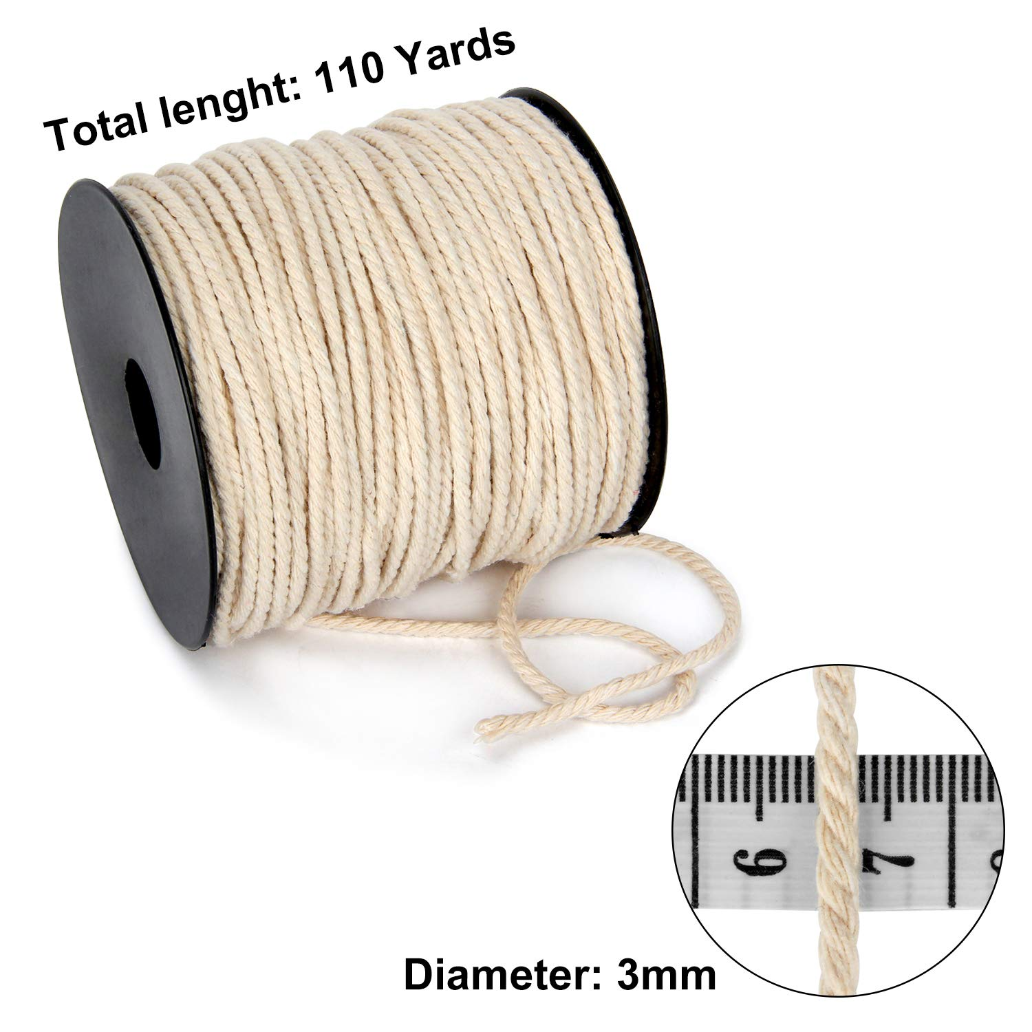 Knitting Crafts Plant Hangers Soft Undyed Cotton Rope for Wall Hangings Decorative Projects Blisstime Macrame Cord 3mm X 110Yards |Natural Cotton Macrame Rope|3 Strand Twisted Cotton Cord