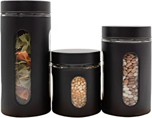 Diamond Home (3 Piece) Air Tight Food Containers Set Stainless Steel with Glass Windows Airtight Canisters For Kitchen and Pantry organization and storage
