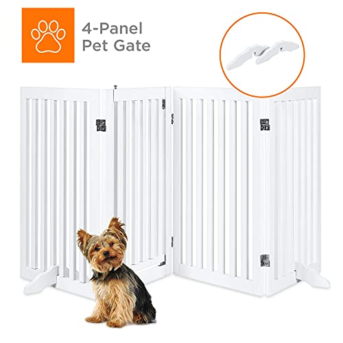 Best Choice Products 31.5in 4-Panel Freestanding Wooden Pet Gate w Walk Through Door, Adjustable Pen – White