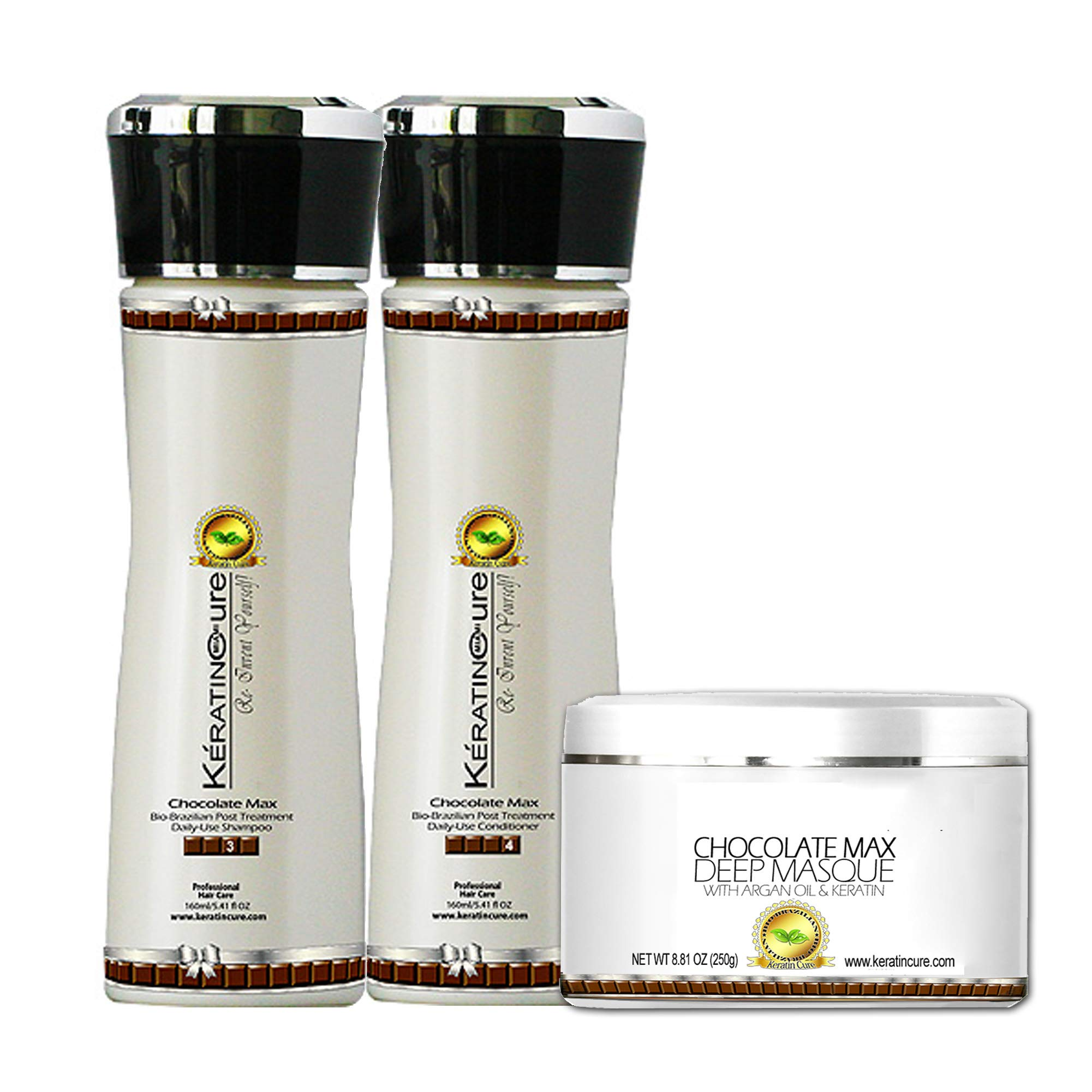 Keratin Cure SULFATE FREE- Chocolate Brazilian Shampoo, Conditioner, Deep Masque with Aloe Daily Use Promote hair growth decrease hair loss (160ml/ 5 fl oz) by Keratin Cure