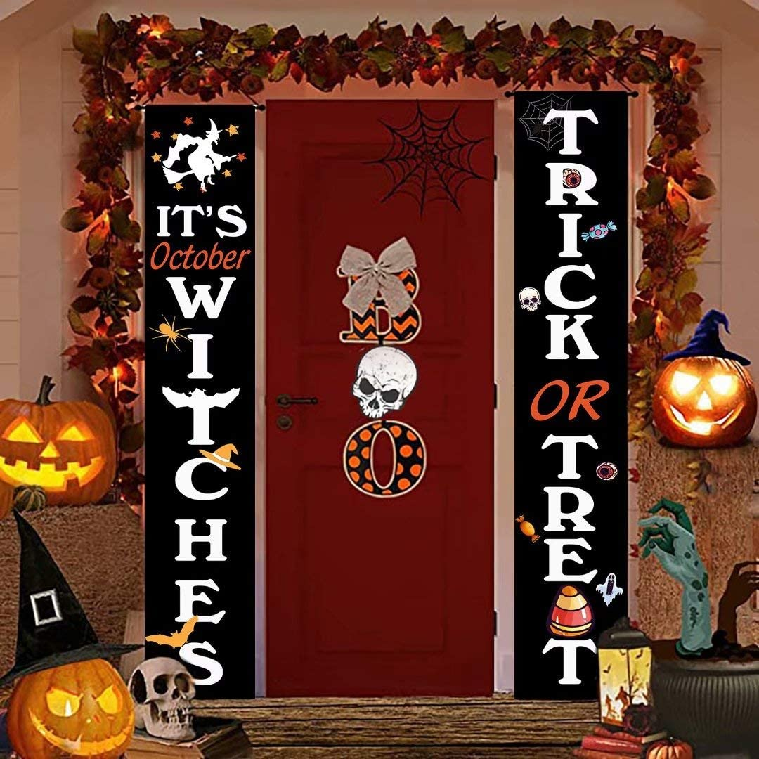 Funny Halloween Decorations Indoor Outdoor 2Pcs Trick or Treat & It's October Witches Halloween Banner Vertical Hanging Sign for Front Door Porch Home Yard Decor Holiday Farmhouse 70.8x12 Inch