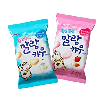 Korean Lotte Soft Malang Cow Fresh Grade Milk & Strawberry Milk Chewy Candy  2 22 Oz (Pack of 2)