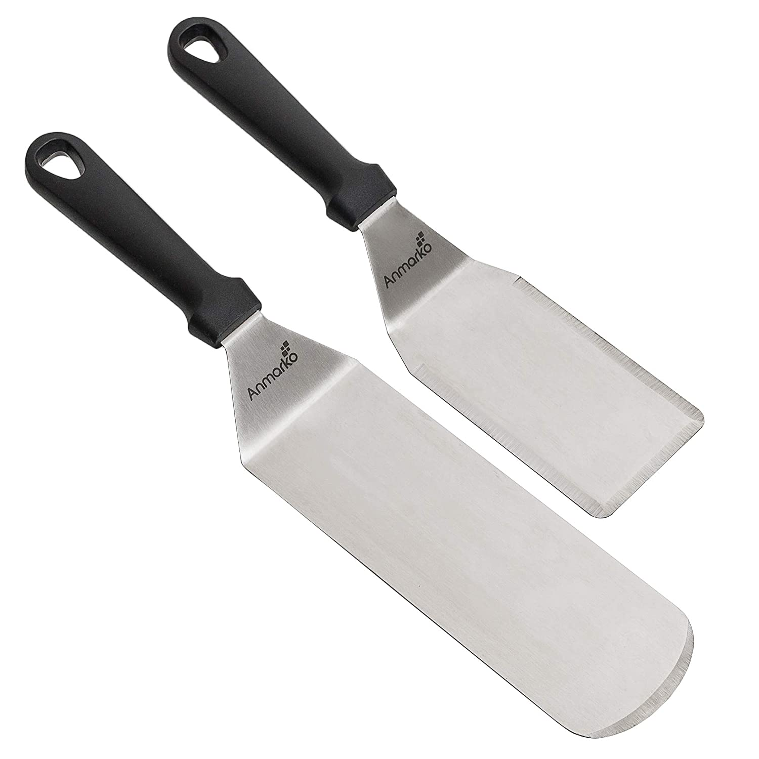 Professional Spatula Set - Stainless Steel Pancake Turner and Griddle Scraper - Griddle Spatula - Flexible Flipper - for BBQ or Grill - Set of 2 Commercial Grade Spatulas