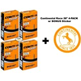 "Continental Race 28"" 700x20-25c Bicycle Inner Tubes - 42mm Long Presta Valve - 4 PACK w/ BONUS Conti Sticker"