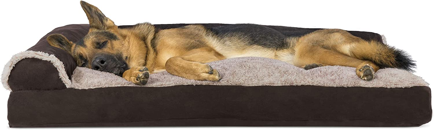 Furhaven Pet Dog Bed - Two-Tone Plush and Suede L Shaped Chaise Lounge Pillow Cushion Sofa-Style Living Room Corner Couch Pet Bed with Removable Cover for Dogs and Cats, Espresso, Jumbo : Pet Supplies