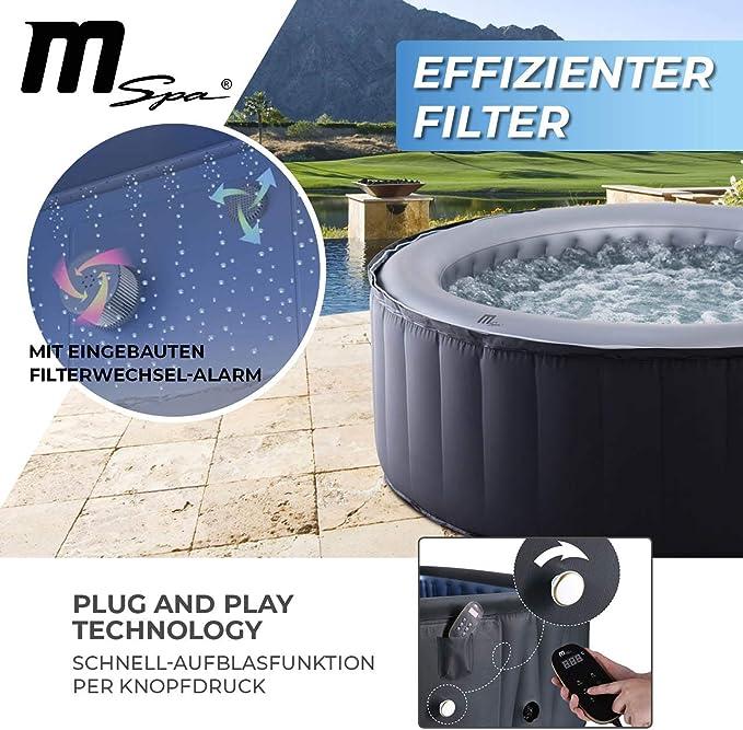 Miweba MSpa D-SC06 - Jacuzzi Hinchable para 6 Personas, 132 boquillas, 204 x 70 cm, Certificado TÜV, 930 litros, Color Plateado: Amazon.es: Jardín