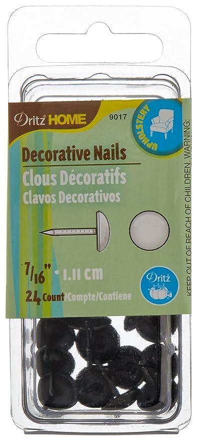 Dritz 9017 tapicería Decorativo Clavos de Cabeza Suave, Negro, 7/16-inch