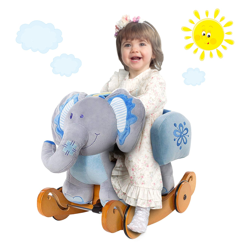 Labebe Child Rocking Horse Plush, Stuffed Animal Rocker Toy, 2 in 1 Blue Elephant Rocker with Wheels for Kid 6-36 Months, Wooden Rocking Horse/Kid Rocking Toy/Baby Rocking Horse/Rocker/Animal Ride on