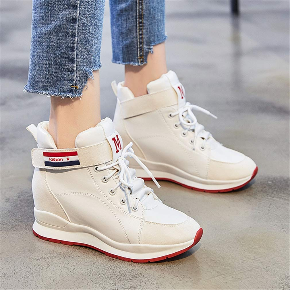 YXB Womens Sneakers 2019 New Microfiber Sports Shoes High-Top Casual Shoes Fashion Deck Shoes Athletic Shoes Training Shoes White Black,Black,36