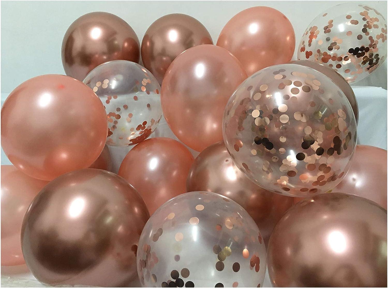 Chrome Rose Gold Glitter Balloons -Bamonos Metallic Confetti Balloons for Women Birthday Bachelorette Bridal Shower Graduation Party Decorations 50packs (Rose gold)
