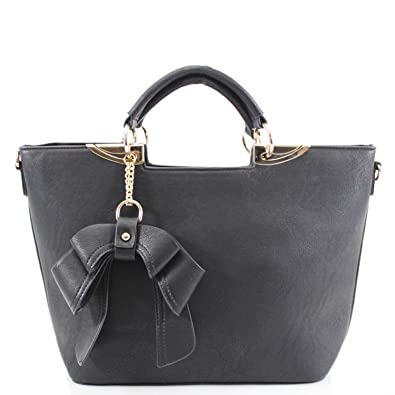 55062eab LeahWard Women's Bow Charm Handbags Ladies Faux Leather Tote Shoulder Bags  Sale Clearance 853