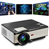 """CAIWEI Portable Led Home Theater Cinema Projector, Indoor Outdoor Video Games Movie Projector 200"""" 3500 Lumens Supports 1080p Full HD HDMI USB, Video Projector for PC DVD Laptop TV Smartphone Iphone"""