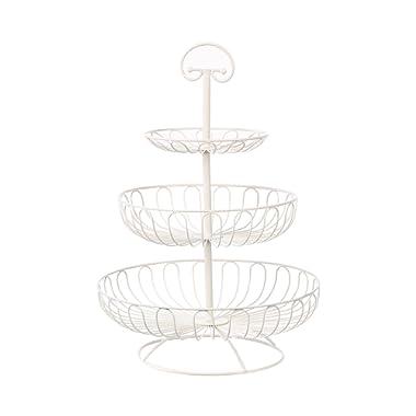 Juvale 3-Tier Decorative Display Fruit Basket, Cream, 13  x 13