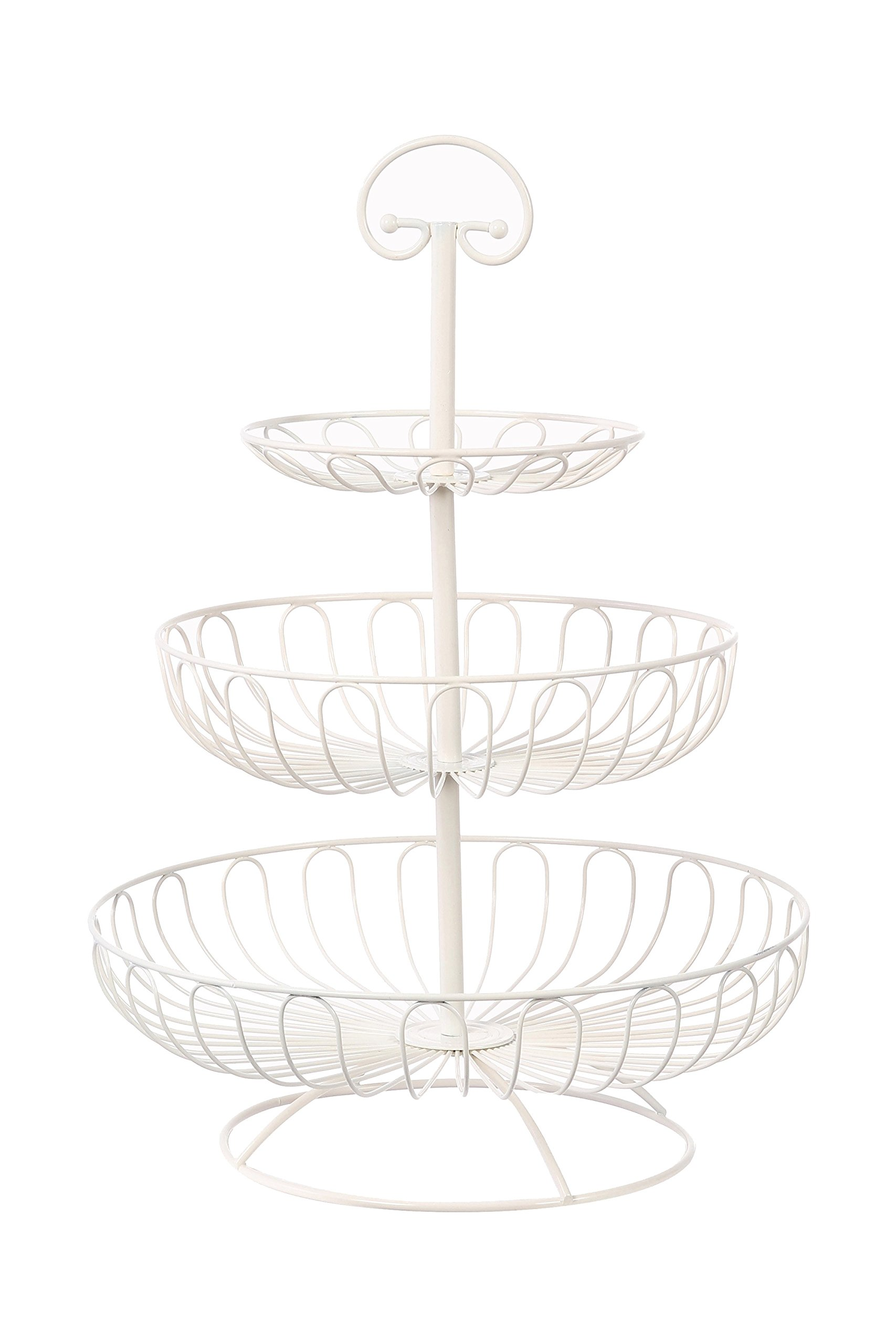 Juvale 3-Tier Decorative Display Fruit Basket, Cream, 13'' x 13'' by Juvale (Image #1)