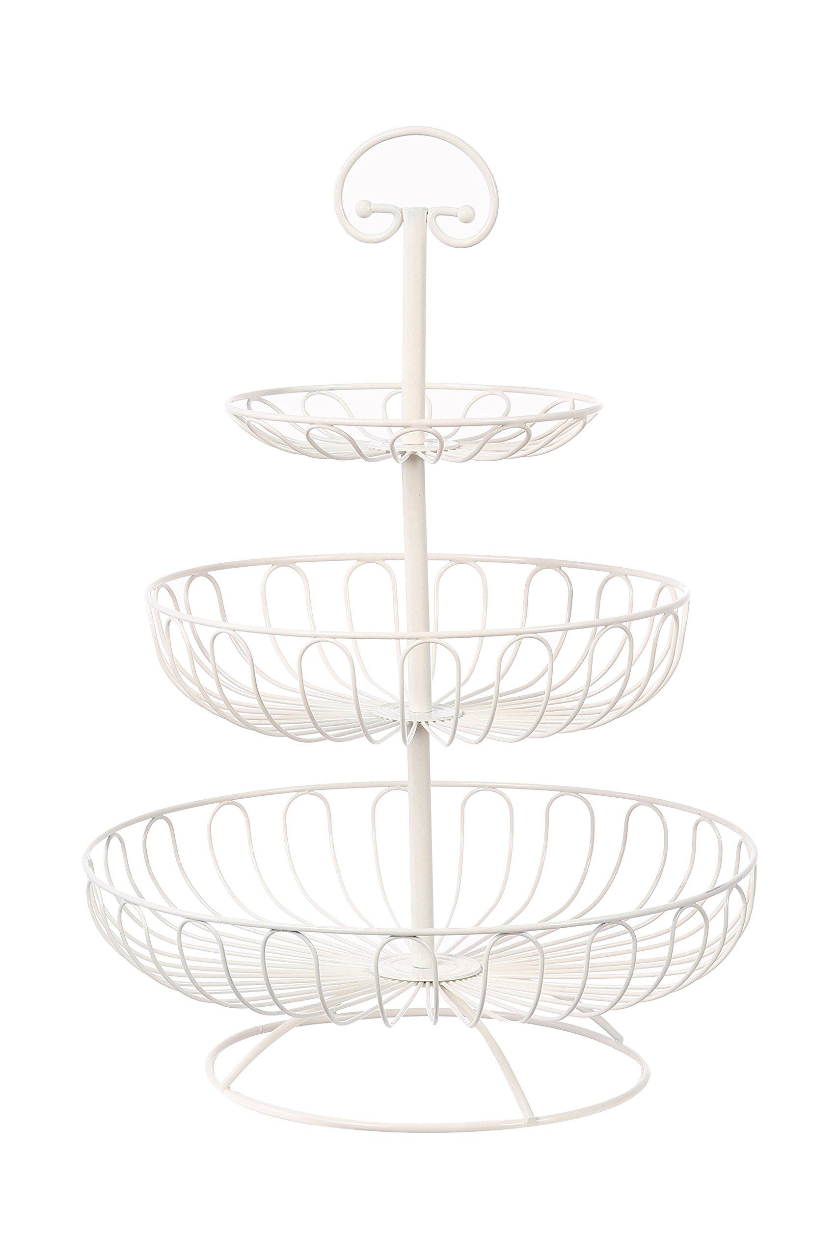 Juvale 3-Tier Decorative Display Fruit Basket, Cream, 13'' x 13''