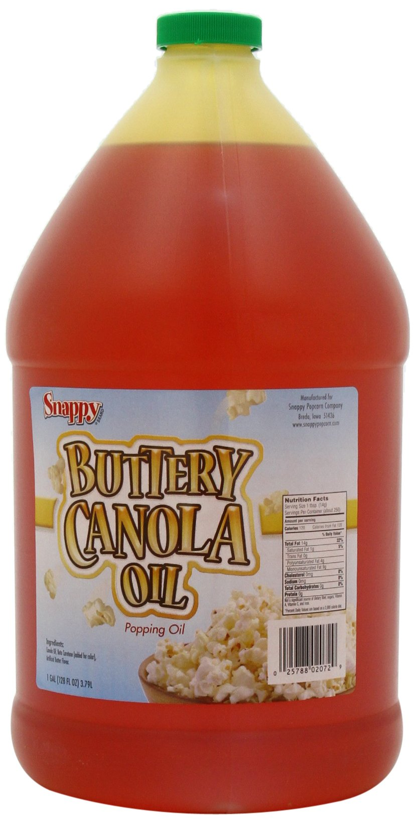 Snappy Popcorn 1 Gallon Snappy Buttery Canola Oil, 9 Pound