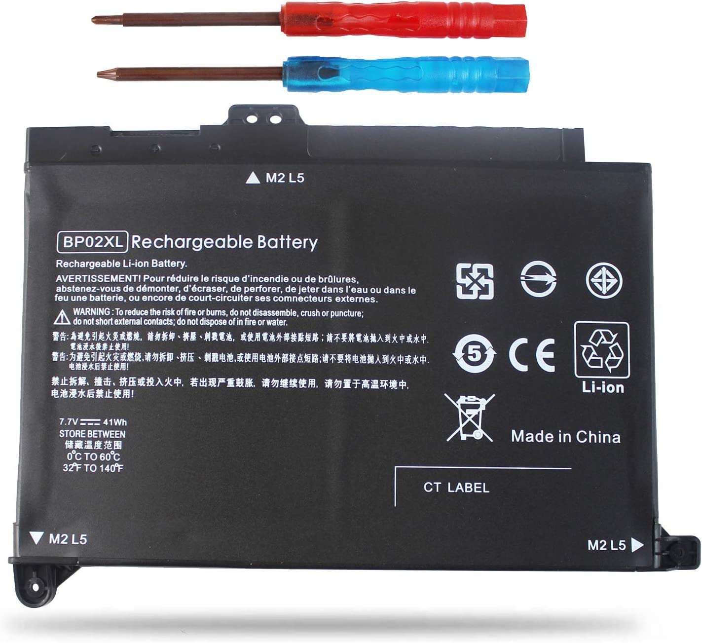 Vinpera BP02XL Laptop Battery for HP Pavilion PC 15 Series 15-AU010WM 15-AU123CL 15-AW002LA 15-aw004 15-AW053NR fit BP02041XL 849569-421 849909-850 849909-855 HSTNN-LB7H -[Three Months Refund]