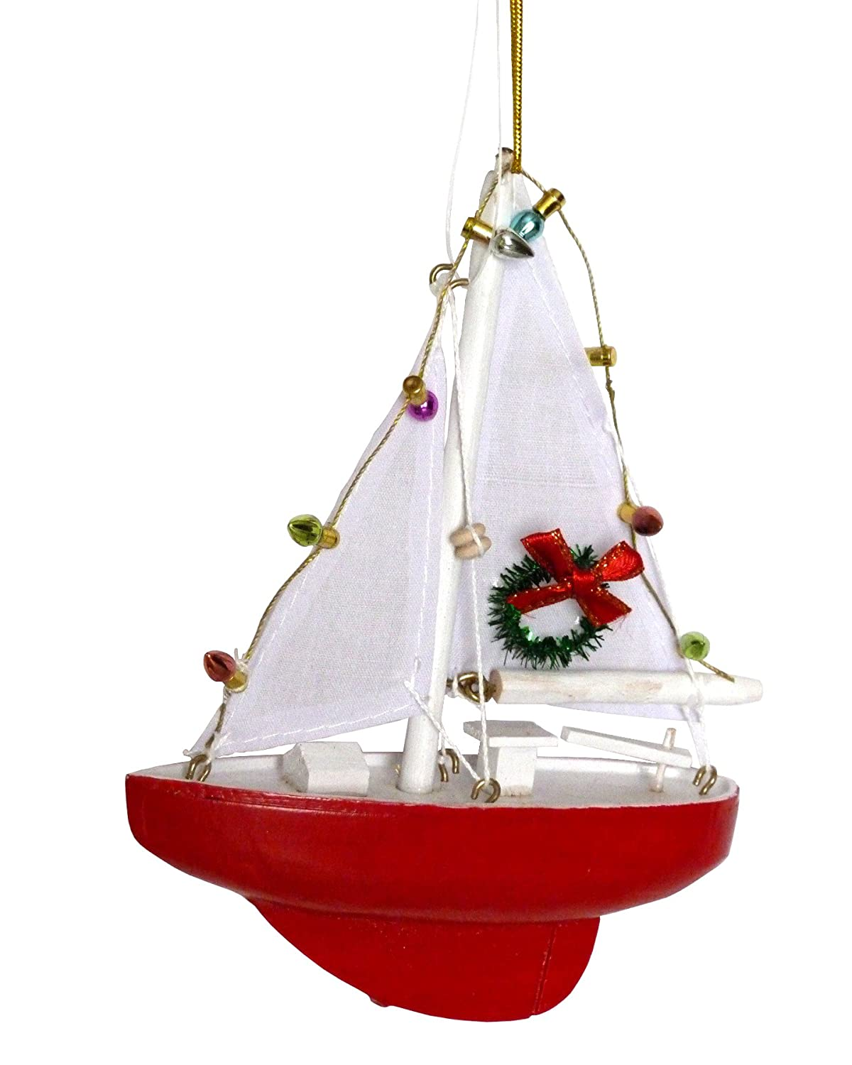 Amazon: Sailboat With Lights And Wreath Christmas Ornament  Holiday  Nautical Beach Decor: Home & Kitchen