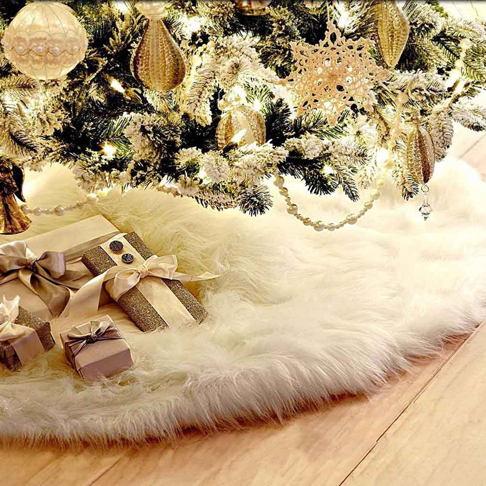 Christmas Tree Skirt 78cm White Long Plush Tree Skirts Base Floor Mat Cover Xmas Decoration Librao