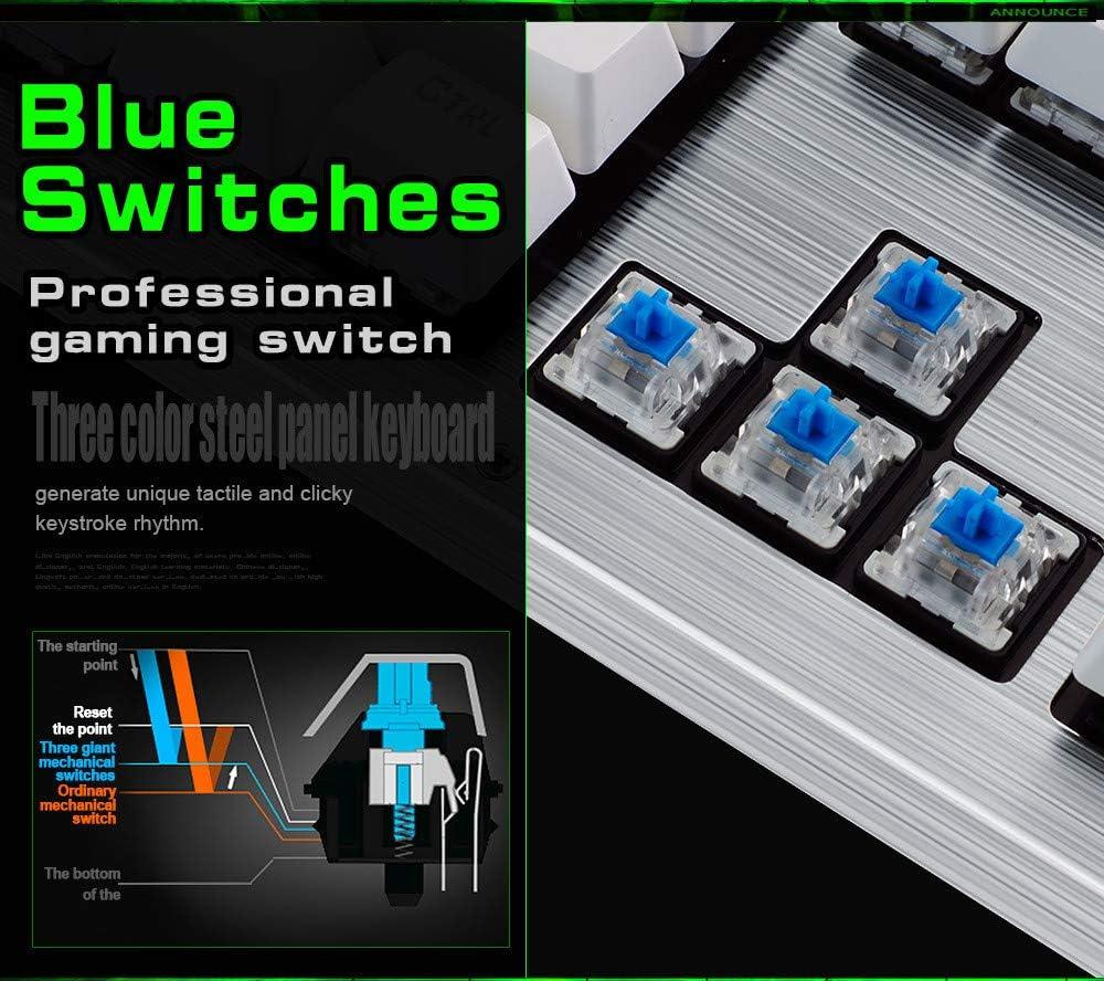 10 Kinds Of Backlight Mode Mechanical Keyboard RGB Rainbow Mechanical Keyboard 104 Key Two-Color Injection Keycap Black