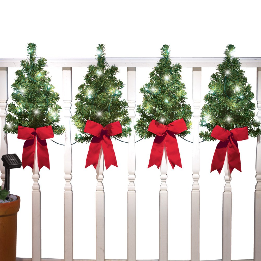 Collections Etc Solar Christmas Trees Wall & Fence Decor