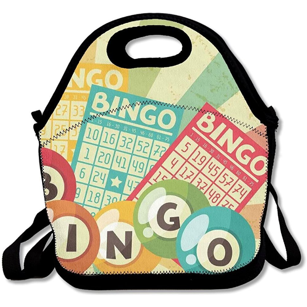 Staroind Bingo Game With Ball And Cards Pop Art Stylized Lottery Hobby Celebration Lunch Bag Tote For School Work Outdoor by Staroind