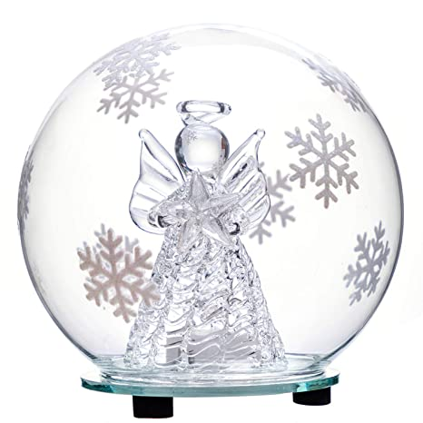 Christmas Angel.Jollylife Christmas Angel Snow Globe Decorations Color Changing Led Glass Ornament Decor