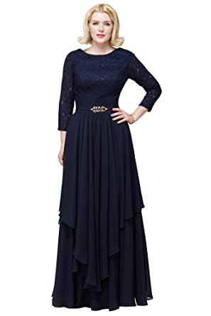 princhar Lace Chiffon Prom Dress Wedding Bridesmaids Formal Women Dresses US 2 Navy