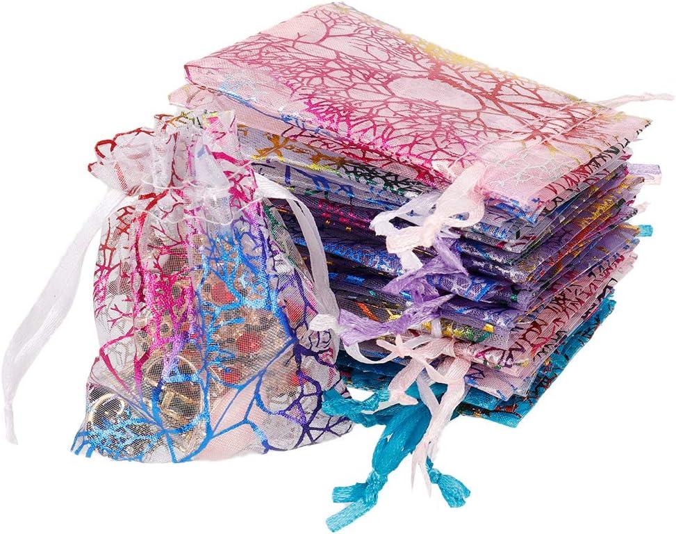 Motif Corail en Organza Poche /à Bijoux Pochettes Bijoux Exquis Sacs-Cadeaux Pratiques pour la d/écoration de Mariage bapt/ême Emballage Cadeau SUSSURRO 100 pi/èces Sacs-Cadeaux color/és en Organza