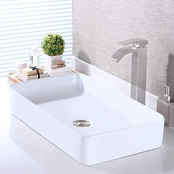 Kes Bathroom Vessel Sink 24 Inch Above Counter Rectangular White Ceramic Countertop Sink For Cabinet Lavatory Vanity Bvs123s60 Amazon Com