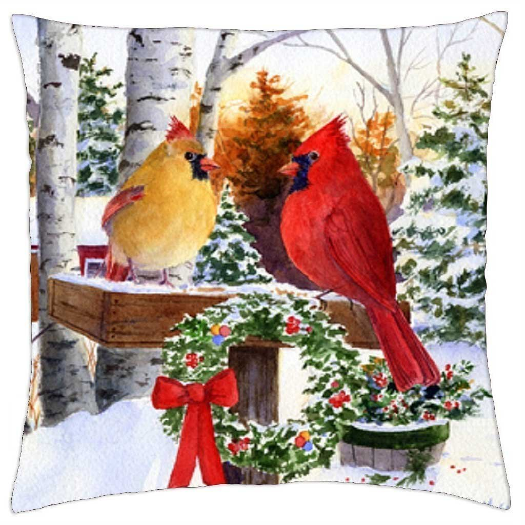 Christmas Cardinals Images.Uoopoo Merry Christmas Cardinals Throw Pillow Case 18 X 18 Inches Cushion Cover