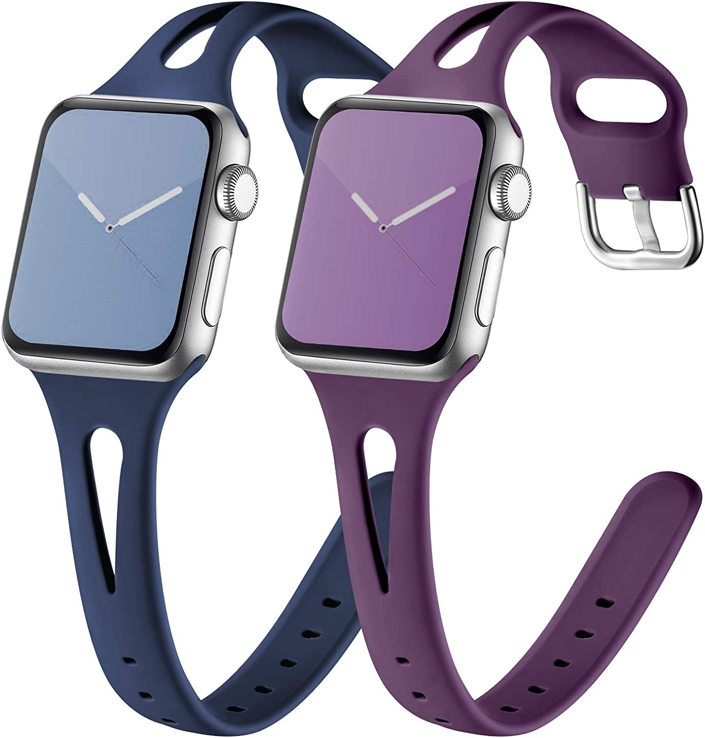 GEAK Compatible with Apple Watch Band 40mm Series 4/5 Series 6 Women, Soft Slim Wristband for apple watch bands 38mm women series 3, Waterproof iwatch bands for women 38mm Series 3 2 1 Plum/Navy Blue