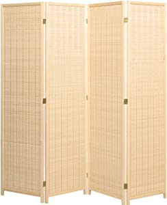 Legacy Decor 4 Panel Natural Color Wood and Bamboo Weave Room Divider