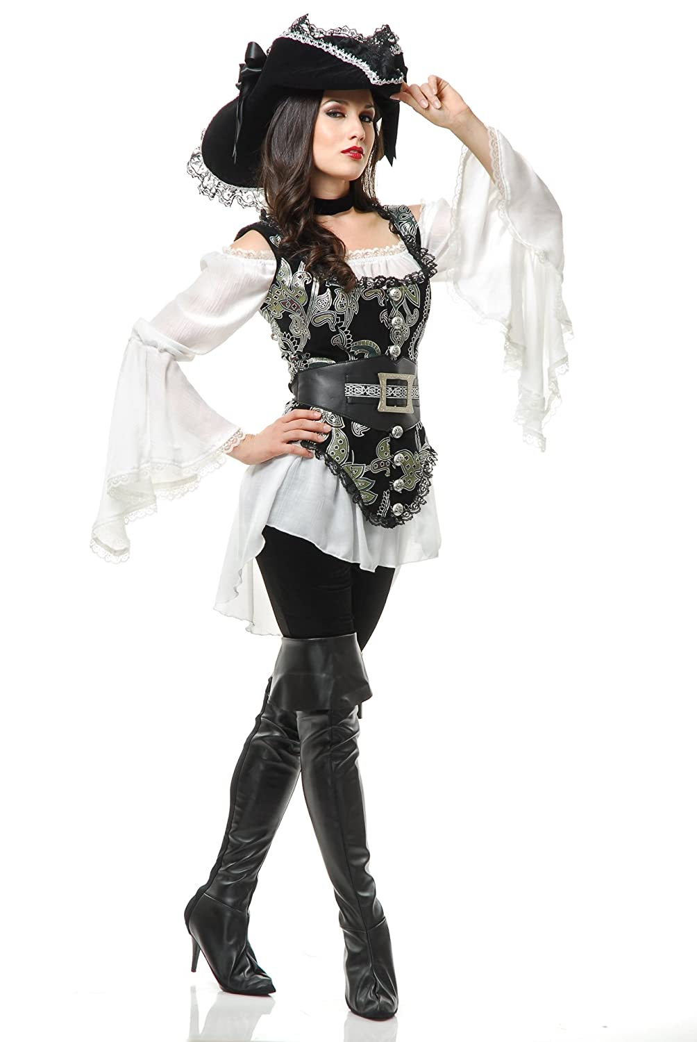 Women's Pirate Lady Black & Silver Vest, Blouse, and Belt Costume Set - DeluxeAdultCostumes.com