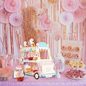 Birthday Party Supplies For Girl, 3 Tier Cupcake Stand Cardboard Truck Cake Stand Holder Dessert Display Tower Stand for Kid Party Baby Shower Happy Birthday Party Decorations