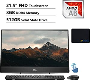 "Dell Inspiron 3000 All-in-One Desktop Computer 21.5"" FHD Touchscreen, AMD A6-9225, 8GB RAM, 512GB SSD, HDMI, Multi-Card Reader, USB 3.1, Wi-Fi, Bluetooth, Wired Keyboard&Mouse, Win10"