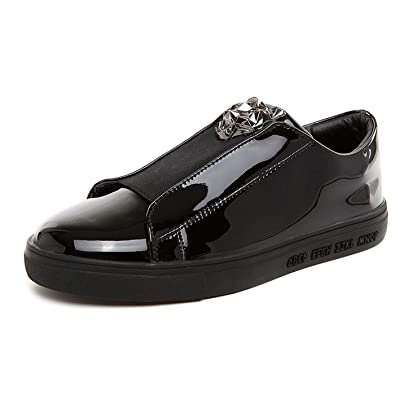 Men's Flat Glossy Sequin Slip On Loafer Shoes (9 US Black)