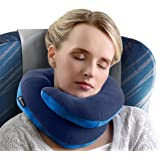 BCOZZY Chin Supporting Travel Pillow - Supports the Head, Neck and Chin in Maximum Comfort in Any Sitting Position. A Patented Product. Adult Size, NAVY