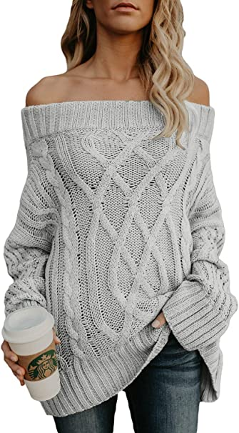 sale usa online fashion style big sale Astylish Womens Loose Knitted Off The Shoulder Oversized Sweaters ...