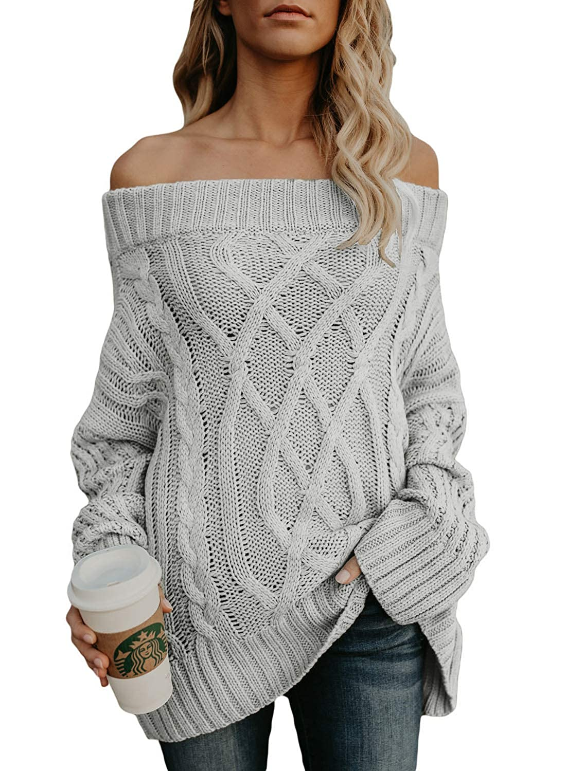 Allumk Womens Oversized Off The Shoulder Solid Loose Cable Knit Pullover Sweaters Jumper APSE5018-T