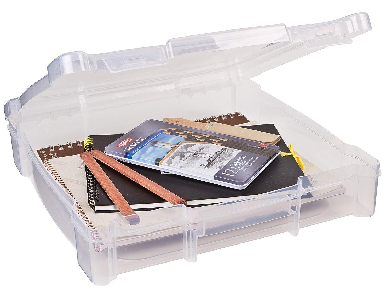 B007VJ8IW0 ArtBin 6912AB Essentials Storage Box, 14.125 by 13.625 by 3-Inch, Translucent 71Y2QunckAL